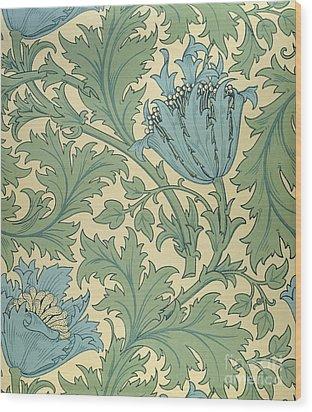 Anemone Design Wood Print by William Morris