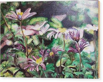 Anemones Japonaises Wood Print by Muriel Dolemieux