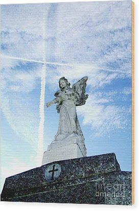 Angel And Crosses Wood Print