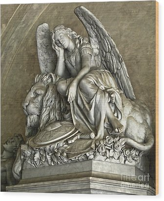Angel And Lion Statue Wood Print by Gregory Dyer