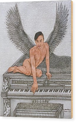 Angel And The Piano Wood Print by Kent Chua