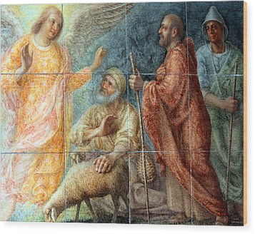 Angel And The Shepherds Wood Print by Munir Alawi