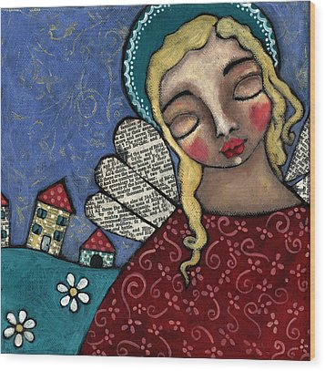 Angel And Village Wood Print by Julie-ann Bowden