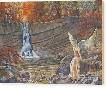 Wood Print featuring the painting Angel At The Waterfall by Anthony Lyon
