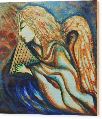 Wood Print featuring the greeting card Angel Awakening by Rae Chichilnitsky
