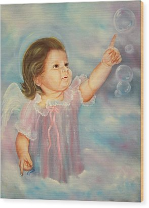 Wood Print featuring the painting Angel Baby by Joni McPherson
