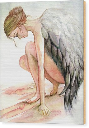 Angel Bowed Wood Print by L Lauter