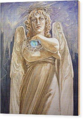 Angel Earth Wood Print by Kathryn Donatelli