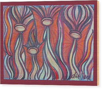 Angel Fairies Wood Print by Deborah Willard