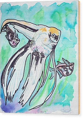 Wood Print featuring the painting Angel Fish And Hatchet Tetras by Jenn Cunningham