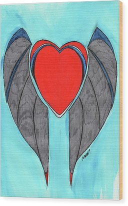Angel Heart Wood Print by Ronald Woods