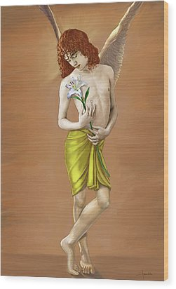 Angel Holding A Lily Wood Print by Dominique Amendola