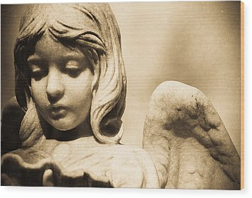 Angel Holding Clam Shell Wood Print by Diane Payne