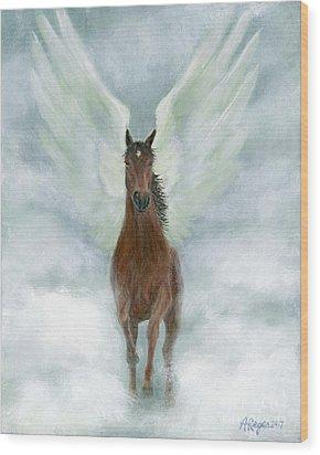 Angel Horse Running Free Across The Heavens Wood Print