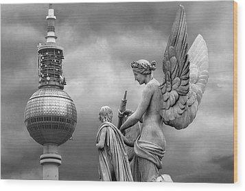 Angel In Berlin Wood Print by Marc Huebner