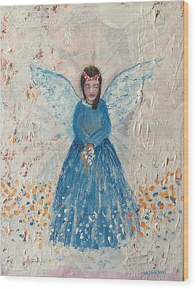 Angel In Blue Wood Print by Jun Jamosmos