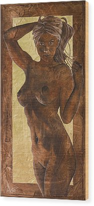 Angel In Gold Wood Print by Richard Hoedl