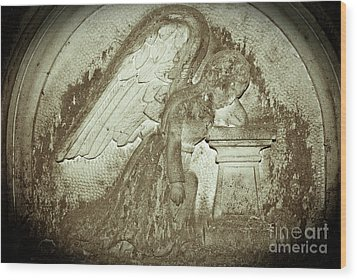 Wood Print featuring the relief Angel In Grief by Yurix Sardinelly