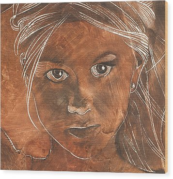 Angel In Process Head Detail Wood Print by Richard Hoedl