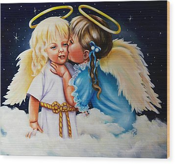 Angel Kiss Wood Print