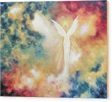 Wood Print featuring the painting Angel Light by Marina Petro