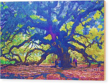 Wood Print featuring the photograph Angel Oak Tree by Donna Bentley