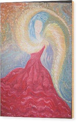 Angel Of Fire Wood Print by Helene  Champaloux-Saraswati