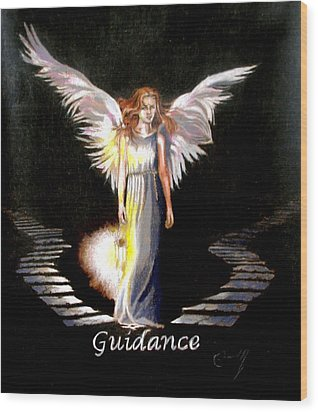 Angel Of Guidance Wood Print by Concept by Rev Kathleen L Dixon Artist Greg Crumbly