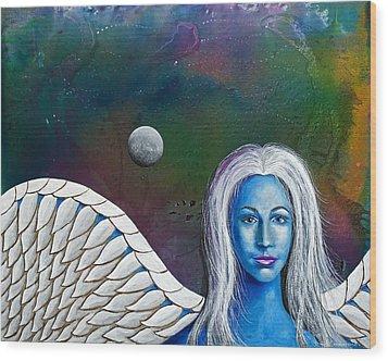 Angel Of The Shepherd Moon Wood Print by Lee Pantas