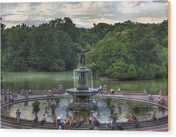 Angel Of The Waters Fountain  Bethesda Wood Print