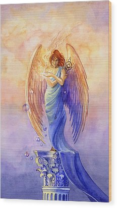 Angel Of Truth And Illusion Wood Print by Janet Chui