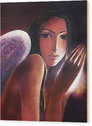 Angel Wood Print by Ognian Kouzmanoav
