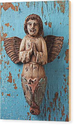Angel On Blue Wooden Wall Wood Print by Garry Gay