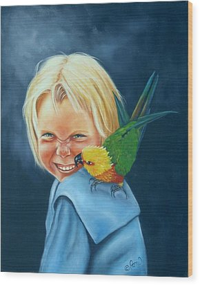 Wood Print featuring the painting Angel On My Shoulder by Joni McPherson