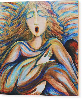 Wood Print featuring the greeting card Angel Singing by Rae Chichilnitsky