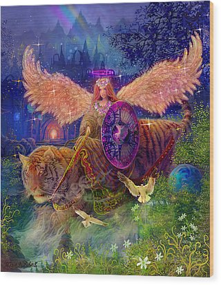 Wood Print featuring the painting Angel Tarot Card Angel Fairy Dream by Steve Roberts
