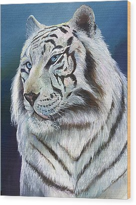 Wood Print featuring the painting Angel The White Tiger by Sherry Shipley