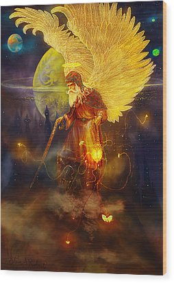Wood Print featuring the painting Angel Uriel by Steve Roberts