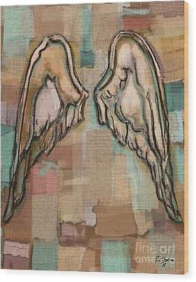 Wood Print featuring the painting Angel Wings by Carrie Joy Byrnes