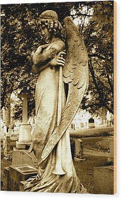 Angel With A Trumpet. Wood Print by Loretta Fasan