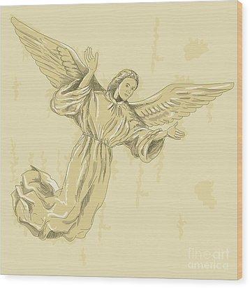 Angel With Arms Spread Wood Print by Aloysius Patrimonio