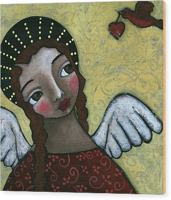 Angel With Bird Of Peace Wood Print by Julie-ann Bowden