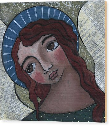 Angel With Blue Halo Wood Print by Julie-ann Bowden