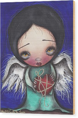 Angel With Heart Wood Print by  Abril Andrade Griffith