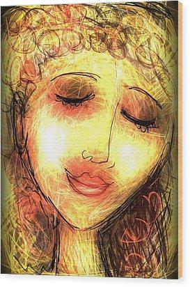 Wood Print featuring the digital art Angela by Elaine Lanoue