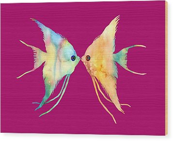 Angelfish Kissing Wood Print