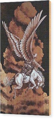 Angelic Saddle Bronc Wood Print by Jerrywayne Anderson