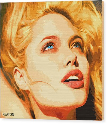 Wood Print featuring the digital art Angelina by John Keaton