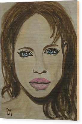 Angelina Jolie Wood Print by Pete Maier