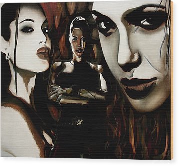 Angelina Jolie Wood Print by Sarah Whitscell